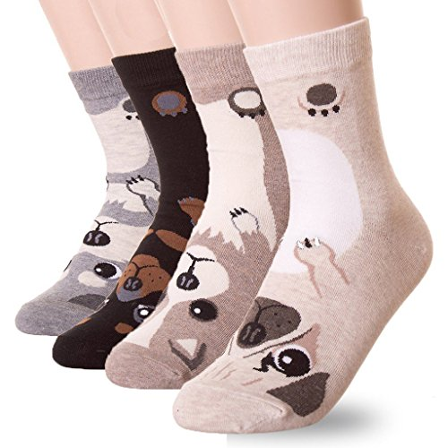 DearMy Womens Lovely Design Casual Cotton Crew Socks | Good for Gift Idea| One Size Fits All | Gifts for Women (Puppy 4 Pairs)