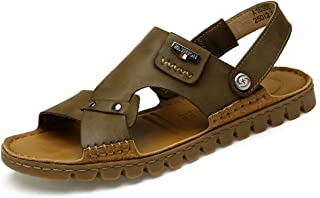 Sumuzhe Stylish and Comfortable Men's Fashion Sandals Casual Simple Lightweight Open Toe Summer Non-Slip Breathable Leisure Slippers (Color : Khaki, Size : 7.5 UK)