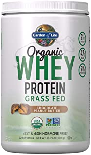 Garden of Life Certified Organic Grass Fed Whey Protein Powder - Chocolate Peanut Butter - 12 Servings, 21g California Gra...