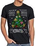 style3 16-bit Suéter de Navidad Camiseta para Hombre T-Shirt Ugly Sweater x-mas SNES, Talla:2XL