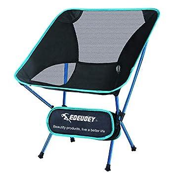 EDEUOEY Chaise de camping ultralégère pour adultes: sac à dos robuste de 104 kg, pliable, pliable, portable, compact, pliable pour plage, pique-nique, voyage, randonnée