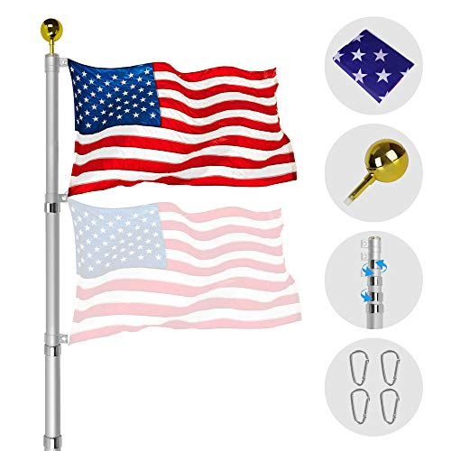 ZEGNEER 25ft Telescopic Aluminum Flagpole with U.S. Flag and Ball Top Kit Support Fly 2 Flag