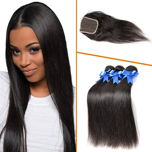 Lovenea TM Best 3 Bundles Filipino Virgin Hair With Silk Base Lace Straight Closure With Baby Hairs Bundle