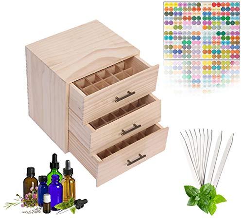 MKNZOME 90 Ranuras Caja de Aceite Esencial de Madera Exhibición Cosmética de Pino Natural Aceite Contenedor Estante de Presentación Ideal para Perfume y Aceite Perfumado y Esmalte de Uñas#1
