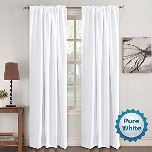 Window Treatment Curtains Insulated Thermal White Curtains Blackout Back tab/Rod- Pocket Room Darkening Curtains, Pure White, Solid Curtains for Living Room, 52' W x 96' L inch (Set of 2 Panels)
