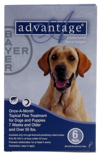 Bayer Advantage II Topical Flea Treatment for Dogs over 55 Lbs (6 Applications)