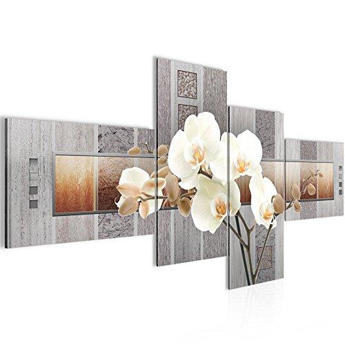 Runa Art Bilder Blumen Orchidee Wandbild 200 x 100 cm Vlies - Leinwand Bild XXL Format Wandbilder Wohnzimmer Wohnung Deko Kunstdrucke Braun 4 Teilig - Made IN Germany - Fertig zum Aufhängen 204641a