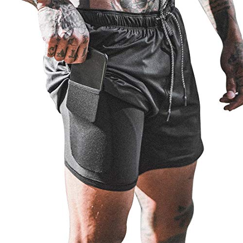 AIDEAONE Running-Shorts Männer Sporthose Trainingshose mit Reißverschlusstasch 2 in 1 Sweat Shorts für Laufsport