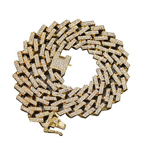 Männer Hip Hop Iced Out Bling Kette Halskette Mode 15 Mm Breite Kubanische Ketten Halsketten Choker Hiphop Männlichen Schmuck Geschenke,Gold,20inch