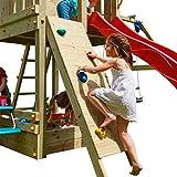 Kletterwand mit Klettersteinen Holzpaket imprägniert Anbau Spielturm Kletterturm