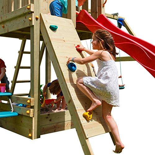 Demmelhuber Kletterwand mit Klettersteinen Holzpaket imprägniert Anbau Spielturm Kletterturm