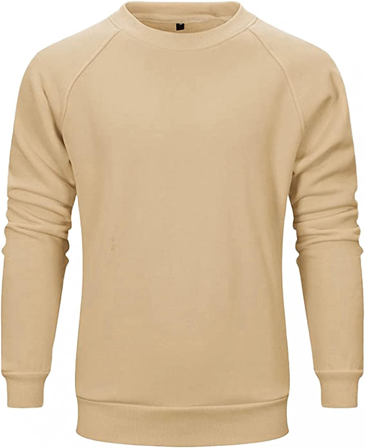 Men's Autumn Slim Casual Crewneck Solid Pullover Long Sleeve Sweatershirts Top Blouse