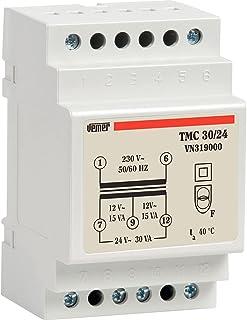 Vemer VN31900010 transformator TMC 30/24 van DIN voor continu gebruik 230 V/12-24 V vermogen 30 VA, lichtgrijs