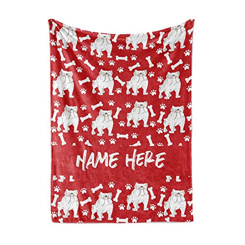 Personalized Custom Pet Bulldog Fleece and Sherpa Throw Blanket for Men, Women, Kids, Babies - Matching Pet Blankets Perfect for Bedtime, Bedding or as Gift