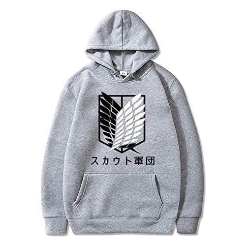 KMNL-Attack on Titan Anime 3D Impresa Sudadera Capucha, Eren Jäger Rival Mikasa Ackerma Casual Sweatshirts, Color sólido, Sencillez, Unisexo-10_SG