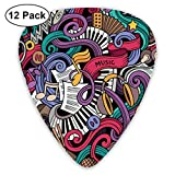 Guitar Picks - Abstract Art Colorful Designs,Music Themed Hand Drawn Abstract Instruments Microphone Drums Keyboard Stradivarius,Unique Guitar Gift,For Bass Electric & Acoustic Guitars-12 Pack