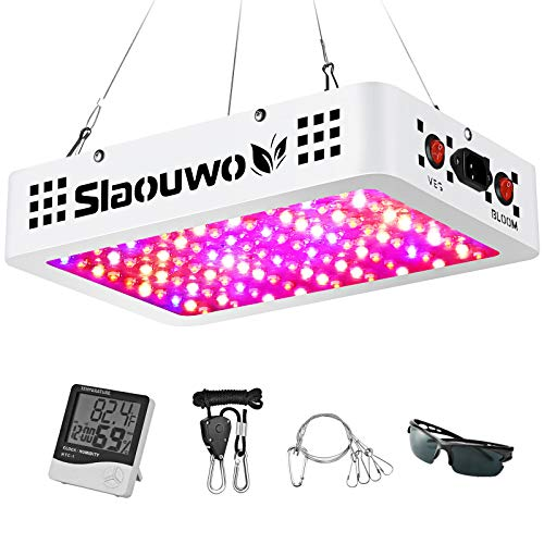 1000W LED Grow Light, SLAOUWO Full Spectrum Plant Light with Dual Switch & Dual Chips, Grow Light for Hydroponic Indoor Plants Veg and Flower (10W LEDs 100Pcs)