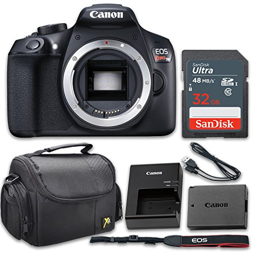 Read About Canon EOS Rebel T6 18MP DSLR Camera Body Only Kit with 32GB Memory and Gadget Bag (Renewe...
