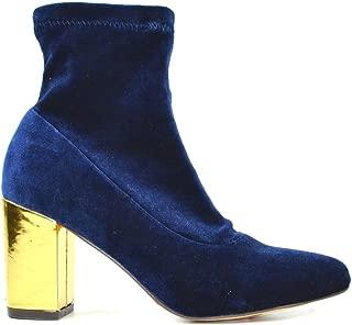 Chase & Chloe Milly-1 Women's Pointy Toe Golden Heel Velvet Ankle Bootie