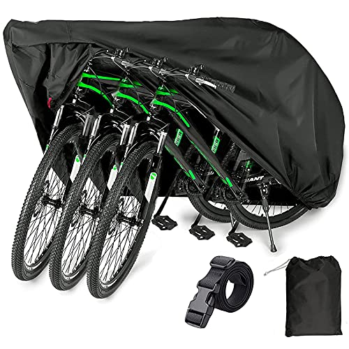 EUGO Bike Cover for 2 or 3 Bikes Outdoor Waterproof Bicycle Motorcycle Covers XL XXL Oxford Fabric Rain Sun UV Dust Wind Proof for Mountain Road Electric Bike Tricycle (420D-XXL for 3 Bikes)