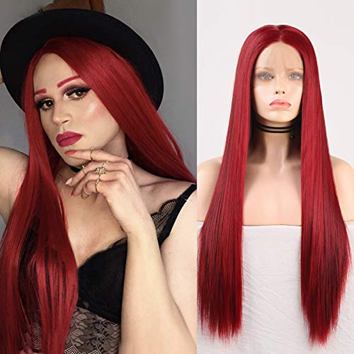 """Imeya Long Burgundy Wigs Wine Red Lace Front Wig 22"""" Silky Straight Synthetic Wig For Women Cosplay Wigs With 13x4 Soft Swiss Lace Heat Friendly Fiber 150% Density Dark Red Wig (22 Inches)"""