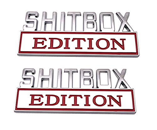 2pcs SHITBOX EDITION Emblems Sticker Car Decal for F150 F250 F350 Chevy Silverado 1500 2500 Chevrolet C10 C15 Truck Badge Chrome/Red