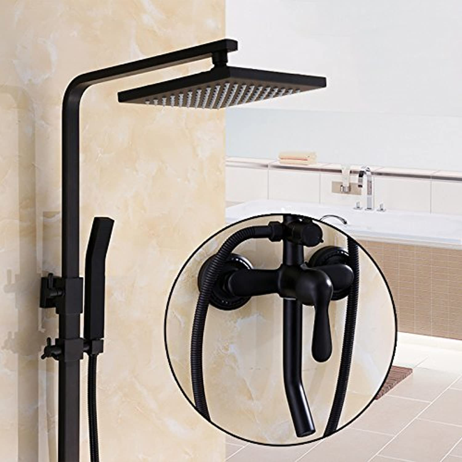 GFEI European style black shower head set   Antique bathroom, hot and cold thickening square shower head   all brass main faucet,E