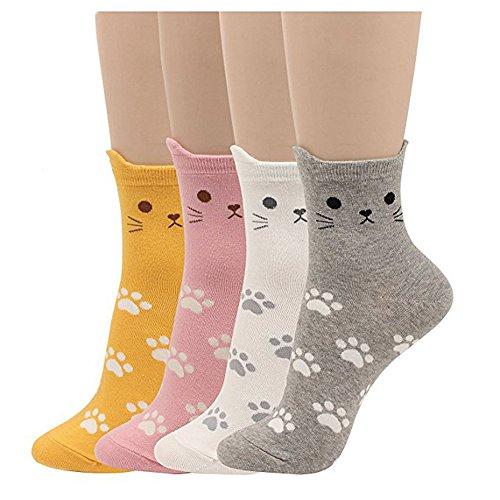 Damensocken mit Katzenmotiv, mit niedlichem Tiermotiv, Hund, Eule, lustiges Geschenk Gr. One size, Animal - Cat Foot Print 4pcs