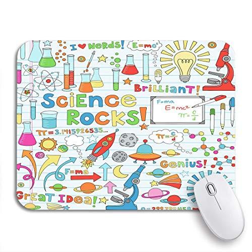 PONIKUCY Gaming und Office Mauspad,Wissenschaft Back to School Doodles Chemestry Physik Mikroskop Moleküle,rutschfester Unterseite