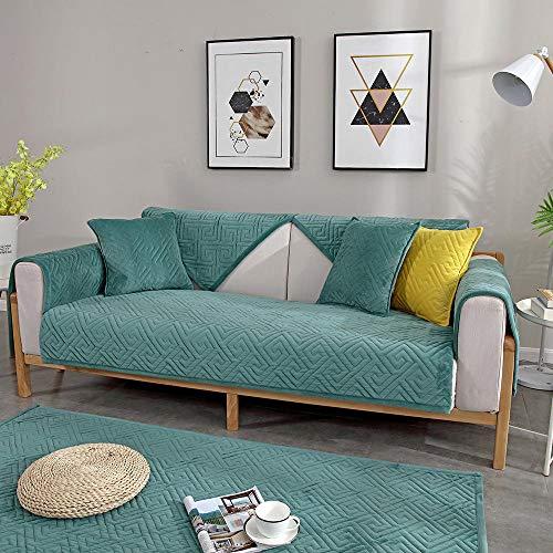 Suuki Funda de sofá de Oficina/Tienda, Fundas de Protector de sofá de Terciopelo Grueso de 2/3/4 plazas, Funda de sofá de Dormitorio de salón de otoño Invierno-Verde-1_Los 90 * 160cm