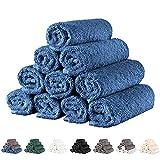 Twinzen - 10 x Toallas Pequeñas de Cara 30x30cm, Azul Oscuro - Toallas de Mano,...