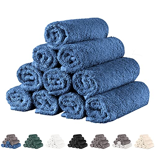 Twinzen - 10 x Toallas Pequeñas de Cara 30x30cm, Azul Oscuro - Toallas de Mano, Set de Toallas de Aseo, Toallas Baño, Juego de Toallas, Toallas Pequeñas Bebe - Toallas Lavabo Algodon