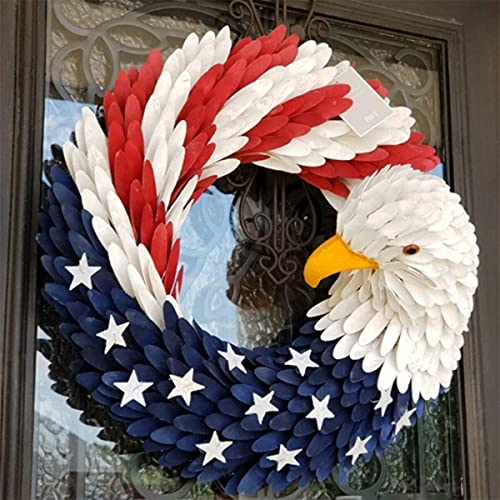 American Eagle Wreath, 15'' Glory Patriotic Hanging Wreath for Front Door Window Wall Decoration, July of 4th Independence Garland with Red White and Blue Eagle, Show Your Patriotic Spirit for America