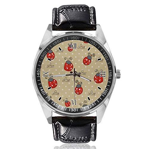 Ladybug Polka Dot Love - Reloj de pulsera para mujer, diseño simple y de moda