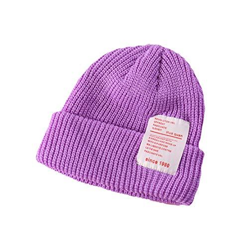 HIOD Niños Bebé Niños Sombreros Calientes de Invierno Precioso Gorra de Punto Suave para Niñas Niños de 2-8 Años,Purple