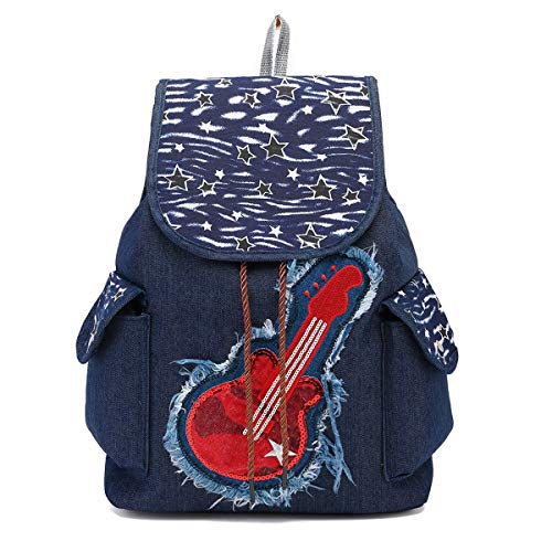CCCLLL Children's Backpack, 15 Inches Retro Folk-custom Embroidered Neutral Drawstring School Bag Denim Material Breathable Wear Resistant High Capacity Leisure Travel Rucksack,A