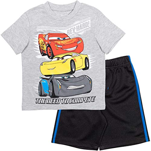 Disney Cars Lightning McQueen Baby Boys T-Shirt & Shorts Set - 18 Months Grey/Black