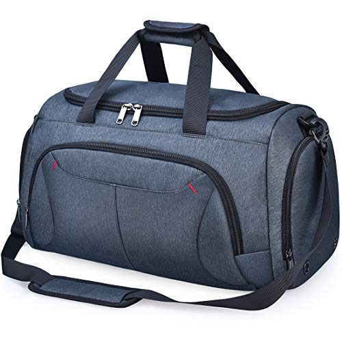 Gym Duffle Bag Waterproof Large Sports Bags Travel Duffel Bags with Shoes Compartment Weekender Overnight Bag Men Women 40L Grey Blue