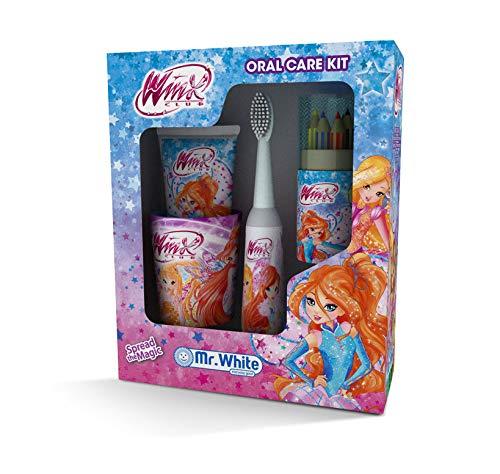 MR WHITE -WINX Set Regalo - igiene dentale composto da: Spazzolino a batteria, dentifricio gusto tuttifrutti, bicchierino e set matite colorate