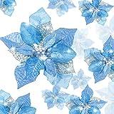 24 Piezas Flores Poinsettia Brillantes de Navidad Flores Navideñas Artificiales Adornos de Año Nuevo �rbol de Navidad Boda (Azul)