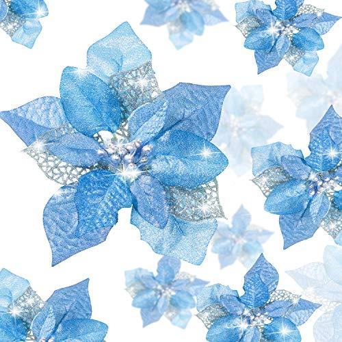 24 Piezas Flores Poinsettia Brillantes de Navidad Flores Navideñas Artificiales Adornos de Año Nuevo Árbol de Navidad…