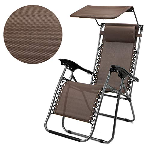 XtremepowerUS Zero Gravity Chair Adjustable Reclining Chair Pool Patio Outdoor Lounge Chairs w/Cup Holder (Gray-Single w/Sunshade)