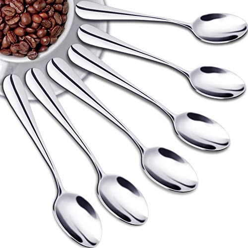 SONGZIMING Demitasse Espresso Spoons, Mini Coffee Spoon, 18/10 Stainless Steel Small Spoons for Dessert, Tea,Set of 6