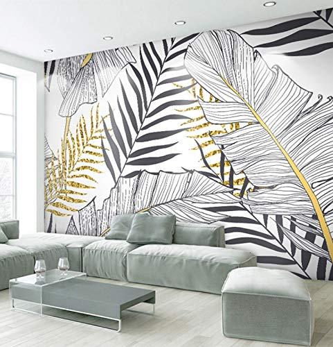 HUANGYAHUI Fotomurales Arte Del Sudeste Asiático En Blanco Y Negro Hojas Doradas. Papel pintado Papel Pintado murales...