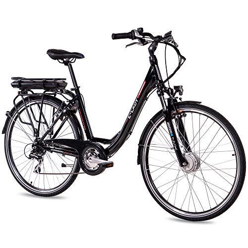 CHRISSON 28 Zoll E-Bike Trekking und City Bike für Damen - E-Lady schwarz mit 8 Gang Acera Kettenschaltung - Pedelec Damen mit Ananda Vorderradmotor 250W, 36V