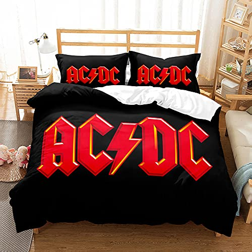 PTNQAZ AC DC Music Bettwäsche-Set, australischer Rockband-Druck, Bettbezug, Bettwäsche, Queen-Size-Bett, Schlafzimmer Dekor (Einzelbett, 4)