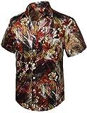 HISDERN Hombre Funky Hawaiian Floral Shirts Manga Corta Bolsillo Delantero, lNegro & Amarillo & Marron, XXL