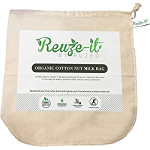 "Premium Organic Cotton Nut Milk Bag - XL 12""x12"" Perfect Almond Milk Maker - Reusable Eco-Friendly Food Strainer for Yogurt, Cheese Cloth, Juice, Tea, Cold Brew Coffee & More 