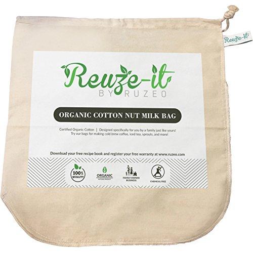 "Premium Organic Cotton Nut Milk Bag - XL 12""x12"" Perfect Almond Milk Maker - Reusable Eco-Friendly Food Strainer for Yogurt, Cheese Cloth, Juice, Tea, Cold Brew Coffee & More"