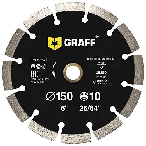 "GRAFF Diamond Blade for Angle Grinder - Diamond Cutting Wheel for Cutting Stone, Marble, Granite, Brick, Masonry, Paving Flag, Concrete - Diamond Saw Blades Segment Height 0.394"" (10 mm) - 6 inches"